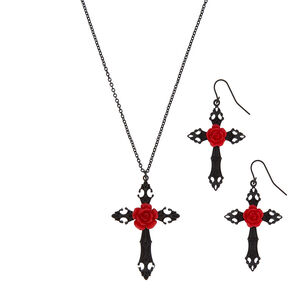 Rose Cross Jewelry Set - Black, 2 Pack,