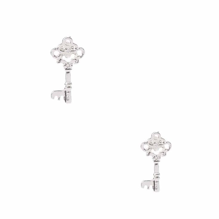 Silver Tone Key Stud Earrings,
