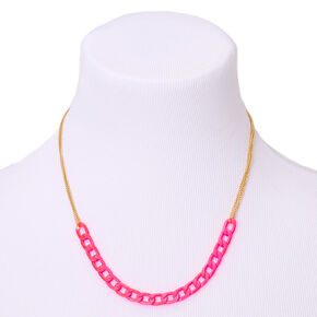 Gold Double Chain Statement Necklace - Neon Pink,