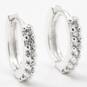 Silver 12MM Cubic Zirconia Huggie Hoop Earrings,
