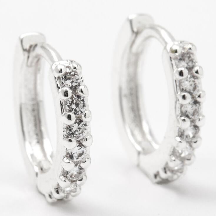 Silver 12MM Cubic Zirconia Huggie Hoop Earrings,