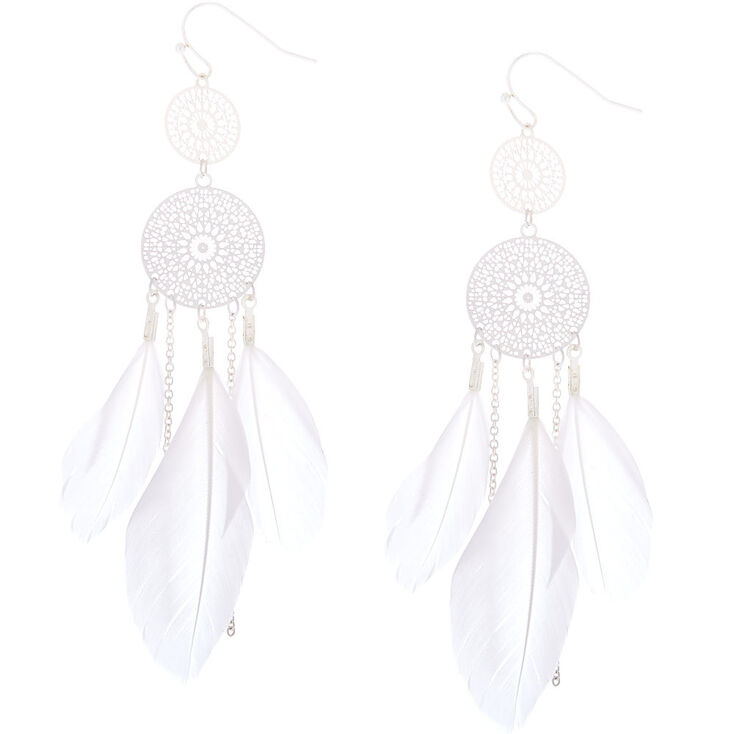 "Silver 3"" Feather Dreamcatcher Drop Earrings - White,"