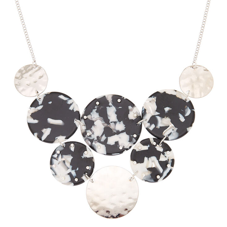 Black & White Resin Bib Statement Necklace,