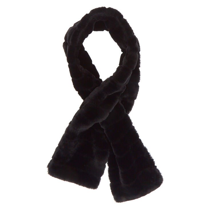 Faux Fur Pull Through Scarf - Black,