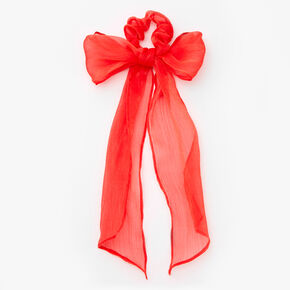 Organza Bow Scarf Scrunchie - Red,