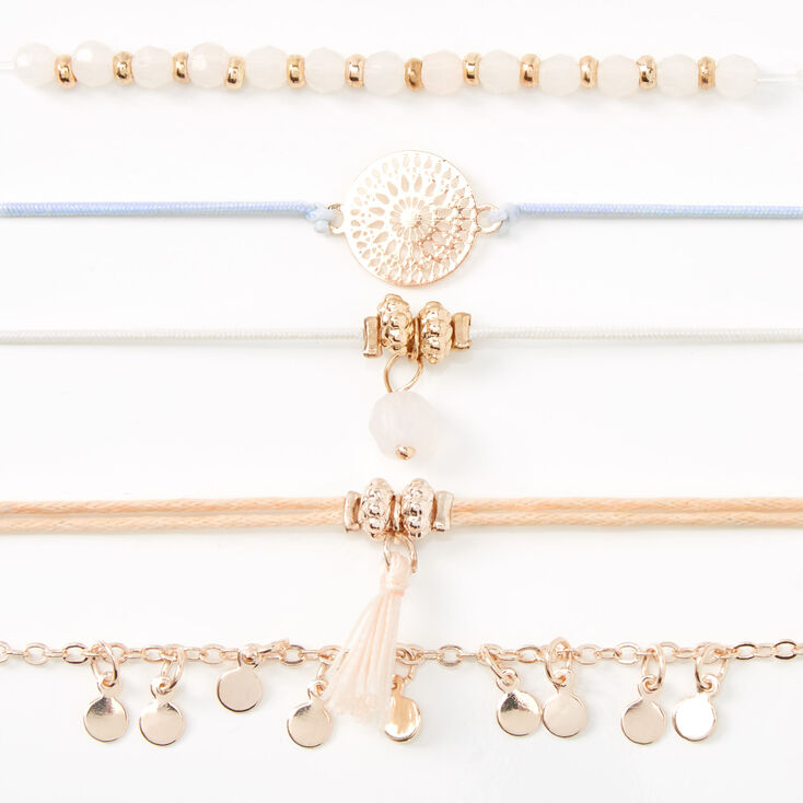 Rose Gold Pastel Filigree Tassel Bracelets - 5 Pack,