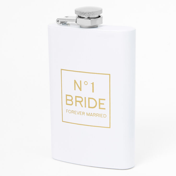 Number One Bride Metal Flask - White,