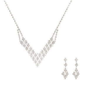 Crystal V Necklace & Earring Set,