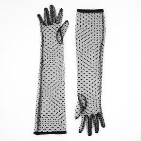 Long Polka Dot Lace Gloves - Black,