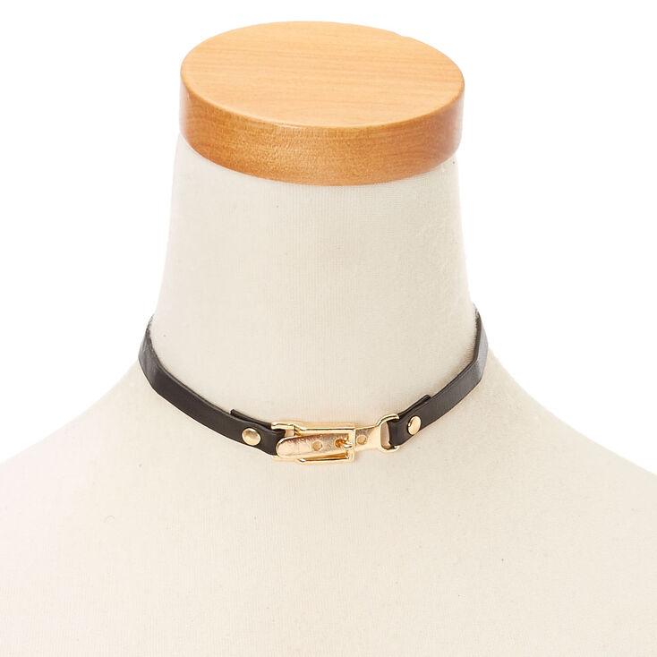 Gold & Black Belt Choker Necklace,