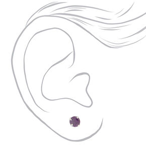 Cubic Zirconia 5MM Stud Earrings - 3 Pack, Purple,