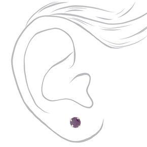 Cubic Zirconia 5MM Stud Earrings - 3 Pack, Purple,