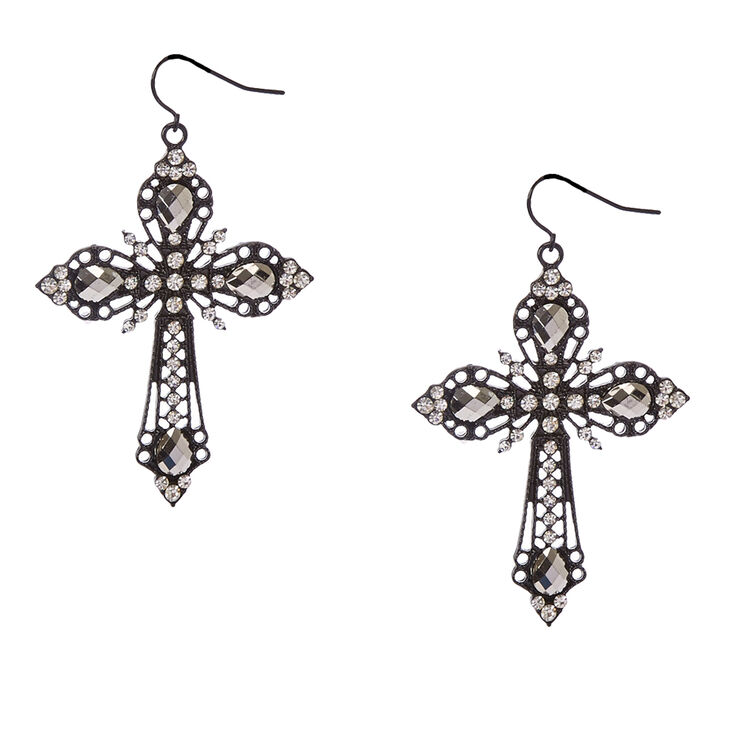 Filigree Gothic Black Cross Drop Earrings,