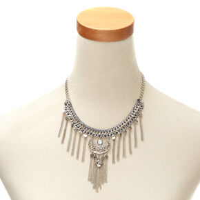 Silver-Tone Chain Statement Necklace,