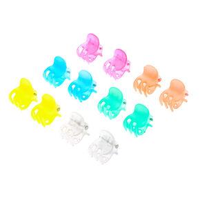 Neon Clear Mini Hair Claws - 12 Pack,