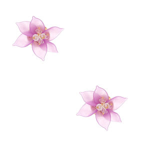 Gold Flower Petal Bead Stud Earrings - Purple,