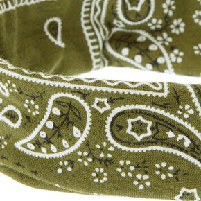 Bandana Twisted Headwrap - Olive Green,