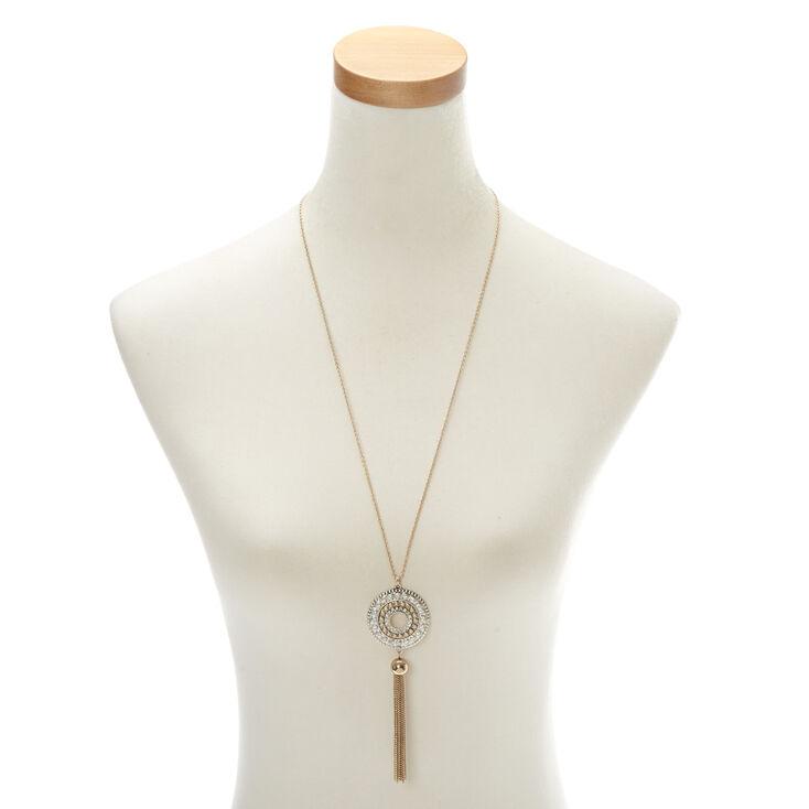 Mixed Metal Medallion Pendant Necklace,