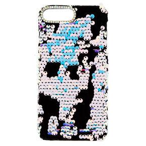 Velvet Reverse Sequin Phone Case - Black,