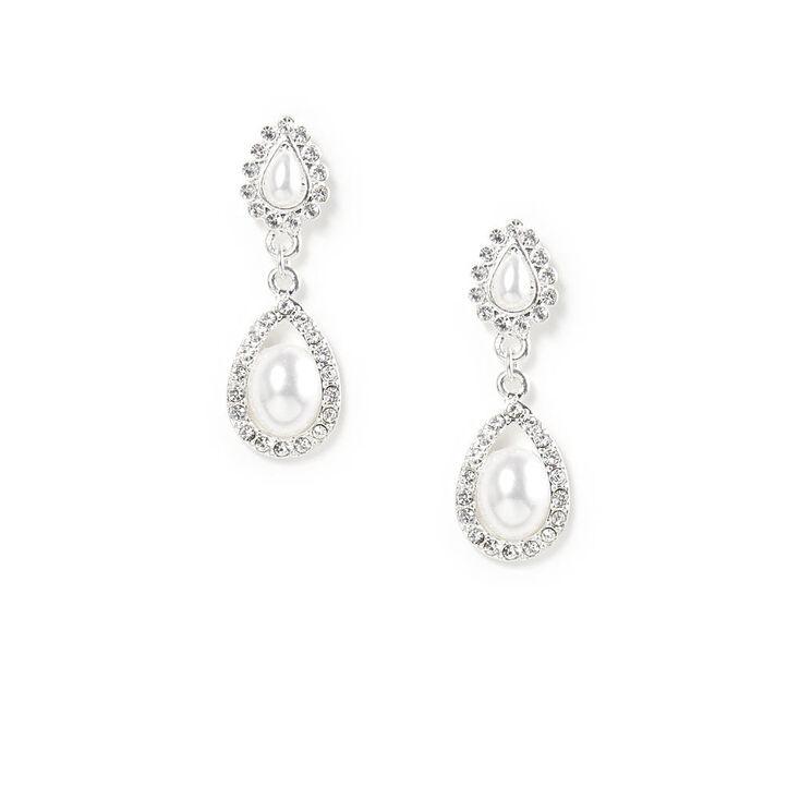 Pearl & Crystal Double Teardrop Drop Earrings,