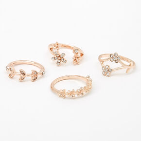 Rose Gold Flower Vine Rings - 4 Pack,