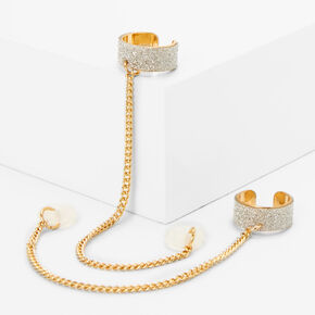 Gold Glitter Stone Ear Cuffs - Compatible With Apple AirPods®,