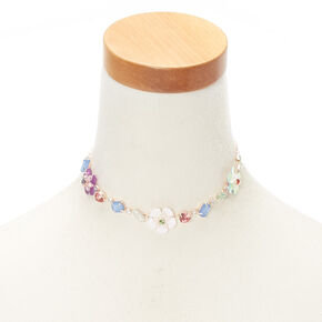 Jewel Tone Spring Flower Choker Necklace,