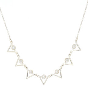 Silver Pearl Triangle Pendant Necklace,