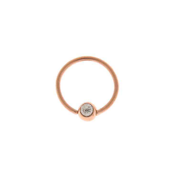 Rose Gold 20G Stone Cartilage Hoop Earring,