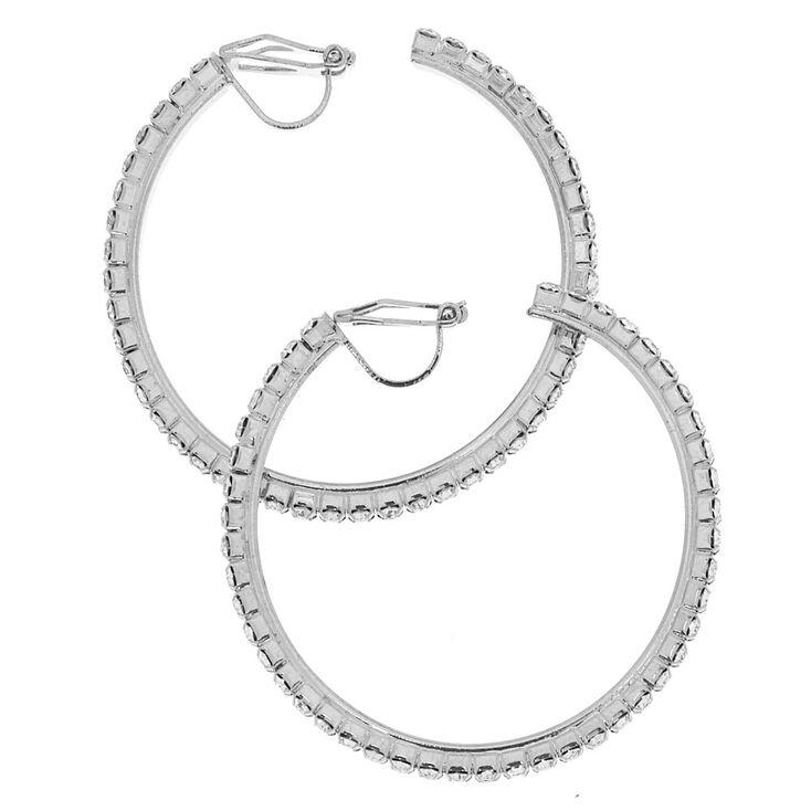 40MM Silver-Tone Half Hoop Clip On Earrings,