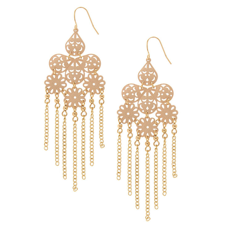 Blush Pink Filigree Chandelier With Gold Chain Fringe Drop Earrings