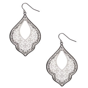 "Silver 2"" Filigree Drop Earrings,"