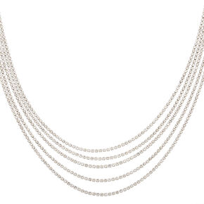 Silver Rhinestone Swag Choker Necklace,