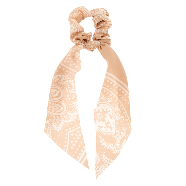 Small Paisley Hair Scrunchie Scarf - Nude,