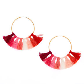 40MM Tassel Hoop Earrings - Pink,