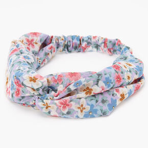 Spring Floral Twisted Headwrap - Lilac,