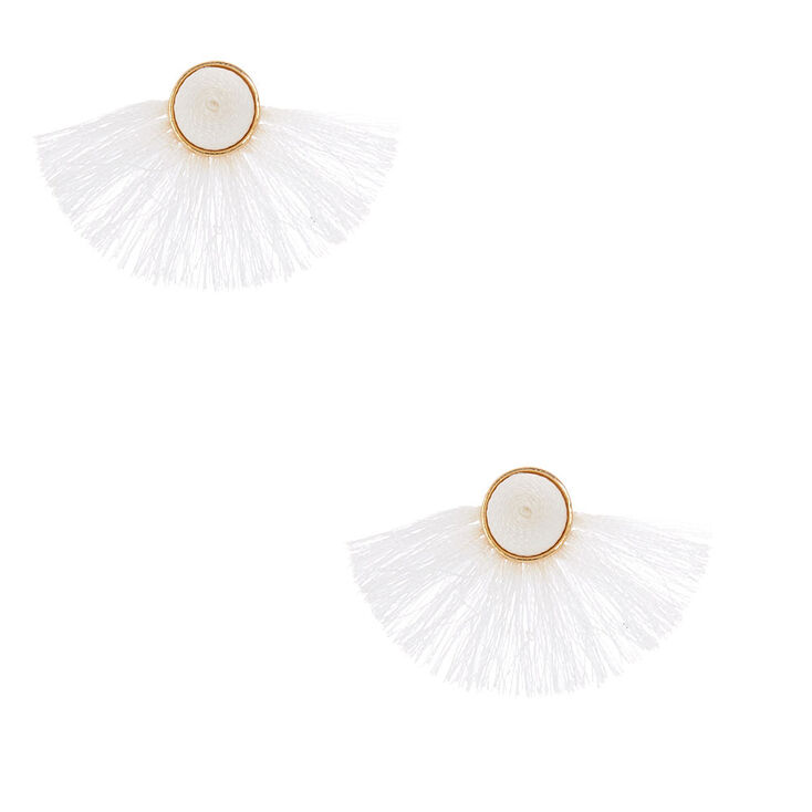 Tassel Fan Stud Earrings - White,
