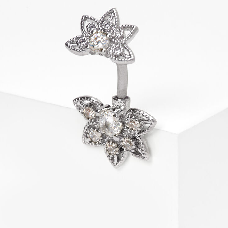 Silver 14G Half Lotus Flower Belly Ring,
