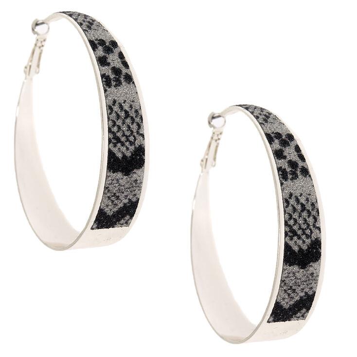 Silver 60MM Glitter Snake Print Hoop Earrings,