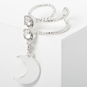 Silver Crystal Moon Charm Ear Cuff,
