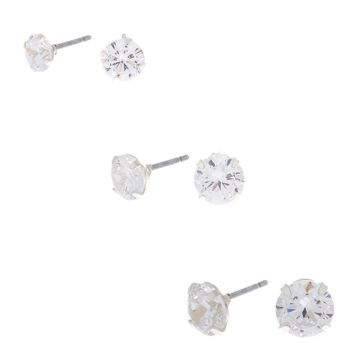 Sterling Silver Cubic Zirconia Stud Earring Set - 3 Pack,