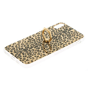 Gold Glitter Leopard with Ring Holder Phone Case - Fits iPhone XS Max,