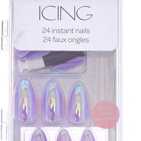 Holographic Pastel Faux Nail Set - Purple, 24,