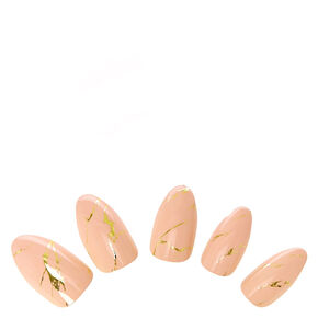 Nude Marbled Stiletto Instant Nails,