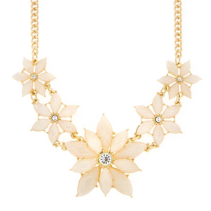 Harper Ivory Glitter Stone Flowers Statement Necklace,