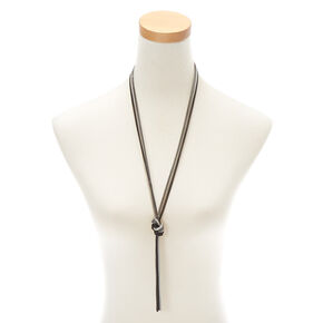 Knotted Chain Long Pendant Necklace,