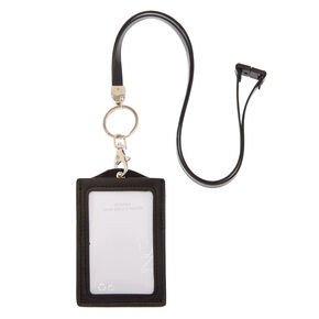 Shaky Sequin ID Holder with Lanyard - Black,
