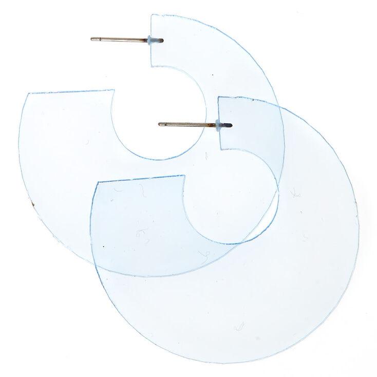 Clear Blue Half Hoop Earrings,