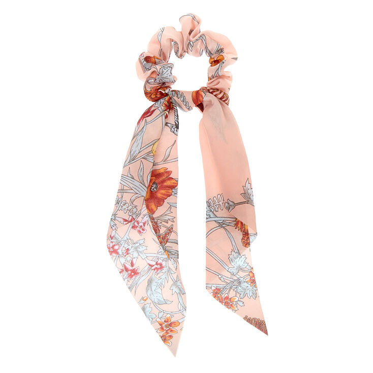 Small Vintage Floral Hair Scrunchie Scarf - Pink,