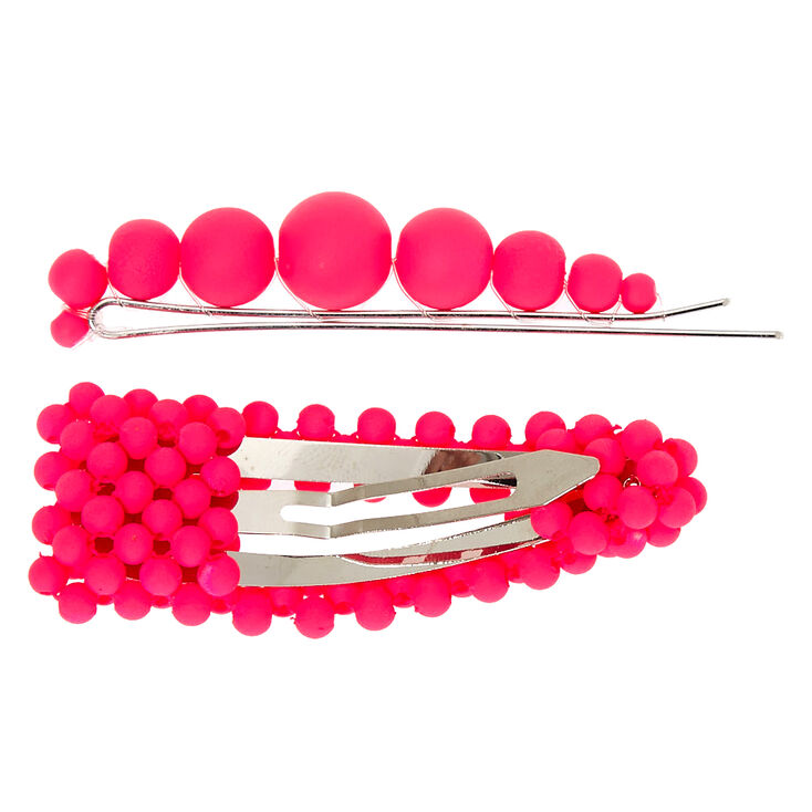 Matte Beaded Hair Pin & Snap Clip - Neon Pink, 2 Pack,